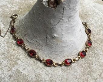 Red Ruby Link Bracelet 1950 Vintage Atlas Bridal Jewelry