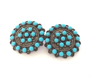Vintage Southwest Turquoise Silver Tone Tound Earrings