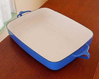 Jumbo Baking Pan by Dansk Kobenstyle -- Sturdy Enamel Lasagna Pan Designed by Jens Quistgaard -- Beautiful Blue Danish Modern Cookware