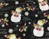 Snowman Fabric - Hooray for Snowman - Cotton Fabric - Springs Creative -  XMAS-02