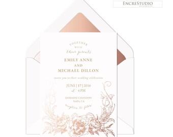Wedding Invitation -  Gold Wedding Invitation, Rose Gold Floral Wedding Invitation, Botanical Wedding Invitation