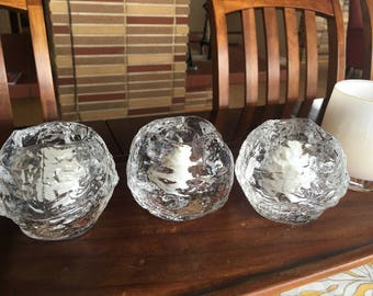 Three beautiful classic Kosta Boda snow ball candle holders. Sweden