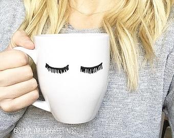Eyelash mug, funny mom mug, funny mug, handwritten mug, fashionista mug, lash lover, tired mommy mug, moma mug