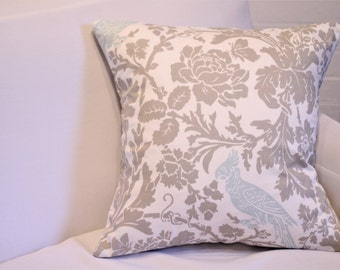 "17x17"" Tan and Blue Botanical Bird Pillow Cover"