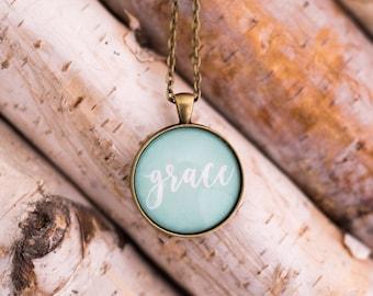 Grace necklace - handwritten word grace pendant - mint grace necklace - inspirational jewelry - grace word necklace - silver mint necklace