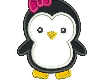 Girl Penguin Applique Embroidery Design - Instant Download