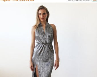 Spring Sale Silver metallic halter-neck gown, Halter silver pleated maxi dress with slit 1137