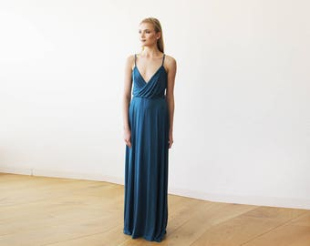 Teal blue maxi straps wrap gown, Blue maxi party dress with slit 1060