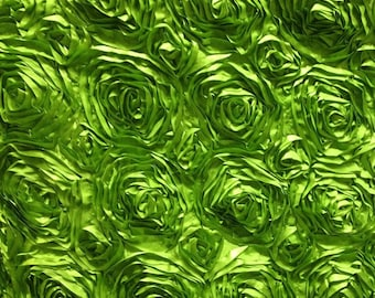 Satin Rosette Apple Green 52 Inch Fabric by the Yard - 1 yard