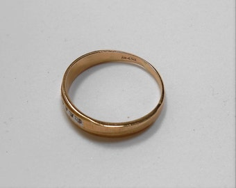 14K Solid Yellow Gold Band with five diamonds, size 11.75