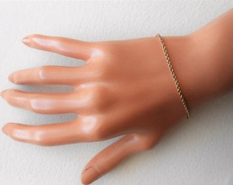14K Solid Yellow Gold  Rope chain bracelet 7.5 Inches