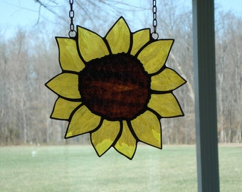 Yellow Stained Glass Sunflower Suncatcher Window Panel Window Treatment Decor