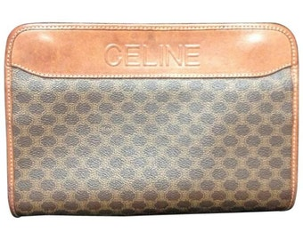 Vintage CELINE brown macadam blason pattern cosmetic, toiletry purse with leather trimmings. Can be used as a clutch bag. Unisex use.