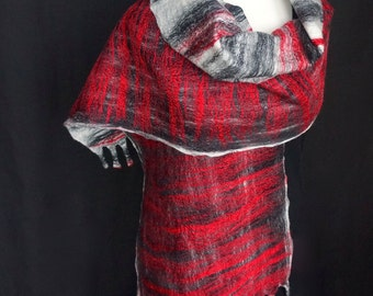 Felted Shawl. Shimmering. Scarlet. Stripes. Black & Ivory Merino. Silk. Fringe. Eco. Sustainable. Luxury.
