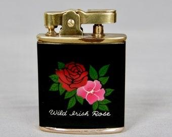 BARCO Vintage 1950s Wild Irish Rose Enamel Musical Lighter in Original Box