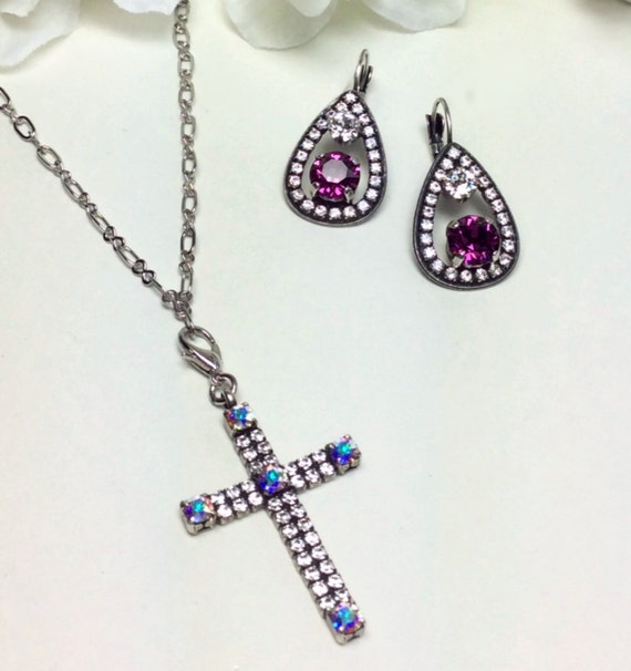 Swarovski Crystal - Beautiful, Delicate Cross - Clear Crystal & Aurora Borealis - Stunning - FREE SHIPPING