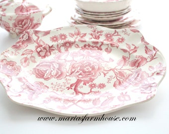 Vintage Platter by Chippendale Johnson Bros. England Transferware, Tea Party, Replacement China - ca. 1935 - 1960s