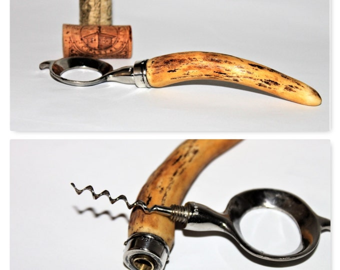 Antique 1906 John Hasselbring Patented Bottle Opener with Hidden Corkscrew made of Stag Horn & Sterling Silver.