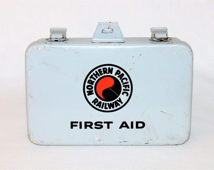 Vintage 1968 Northern Pacific Railway First Aid Case