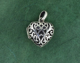 Sterling Silver Heart Locket - Pendant - Free Shipping