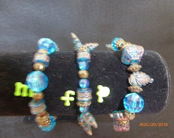 Blue and Brown Stretch Braclets