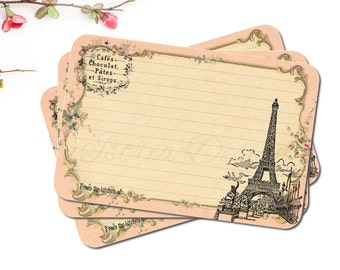 50 Paris Bridal Shower Recipe Cards, French, Eiffel Tower, Cottage Chic, Food Lover Gift, Shabby Kitchen Decor, 4x6 Recipe Cards