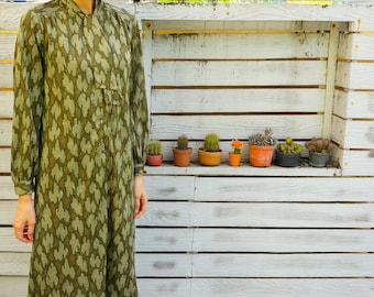Vintage Dress, 1980s Dress, Vintage Japanese Dress, Vintage Womens Dress, Retro Dress, Boho Dress, 80s Dress, Retro Clothing, Green Dress