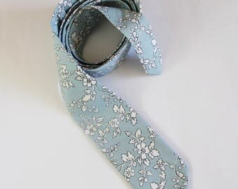 Men's Necktie ~Lovely blue and white floral tie ~ quality cotton