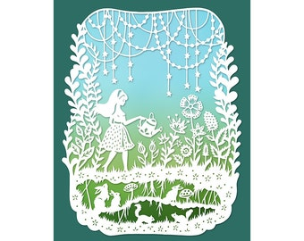 8x10 Print - Magic Garden - Original Papercut Illustration - Fine Art Print