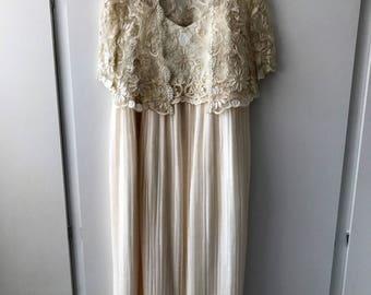 Short Stories cream accordian pleated dress and matchinglace bolero/ short jacket