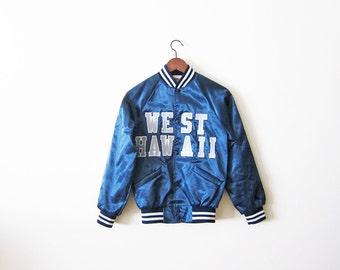 Satin Jacket / Blue Satin Baseball Jacket / West Hawaii / Vintage Bomber Jacket sz XS Small
