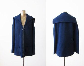 1960s Coat / Vintage 60s Jacket / Wool Knit Blue Coat / Minimalist / Sailor Jacket Medium