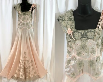 Stunning Pink 1930s-40s Charmeuse Silk Satin Trousseau Nightgown or Dress with Ecru Needle Lace and Appliqués, High Glamour, Red Carpet