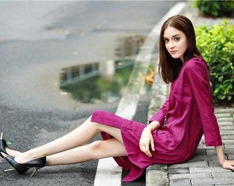 Tunic Linen Dress, Linen Tunic, Purple Dress, Long Sleeve Dress, Winter Dress, Linen Shirt Dress, Layered Dress, Pleated Dress, Linen Kaftan