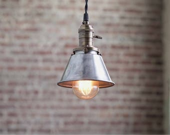 Pendant Lights - Steel Shade -  Hanging Pendant Light - Industrial Shade Pendant