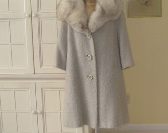 50's beautiful buff mohair swing coat, 3/4 sleeves,, gorgeous large fox collar, 3 button front, styled by Deardon Coats