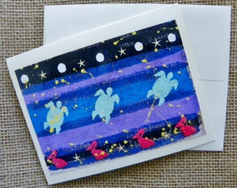 "Blank Folded Note Card-SWIMMING WITH TURTLES-Original 4.25"" x 5.5"" Nautical Print w/envelope -Ivory- Nj artist Briz"