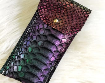 Mermaid Leather Personal Item Pouch