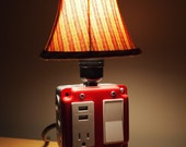 Red Industrial lamp USB Charging station - vintage lamp - desk lamp  - pipe lamp  - steampunk lamp  - USB lamp