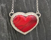 Red Heart Necklace, Fine Silver, Heart Stone Necklace, Red Slag Glass, Pendant Necklaces, Hand Stamped Silver, Silversmith Jewelry