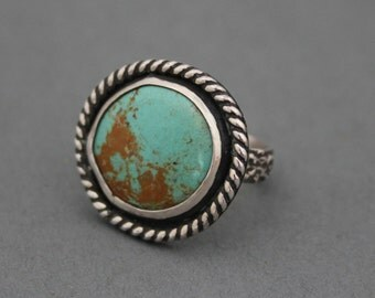 Southwestern Ring, Hubei Turquoise, Turquoise Boho Ring, Turquoise Jewelry, Round Stone Ring, Floral Band, Sterling Silver
