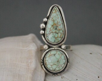 Variscite Ring, Size 9.5 Ring, Sterling Silver, Large Ring, Statement Ring, Boho Jewelry, Southwestern, Multi Stone Ring,
