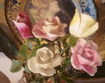 5 Vintage Porcelain Roses Shabby Chippy Fine English Bone China Long Stem