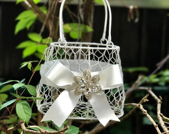 white  flower girl basket purse with white ribbon and brooch purse basket for junior bridesmaid