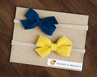 Navy Blue, Chartreuse Yellow Wool Felt bows on Nylon Headbands, Set of Two, Bow Hair Baby Toddler Accessory