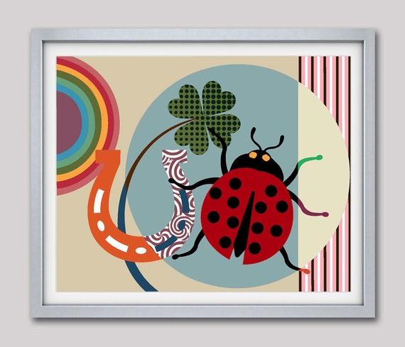 Good Luck Gift, Horse Shoe Art, Lady Bird Art, Good Luck Charm, Horse Shoe Decor, Good Luck Art Print, Colourful Art
