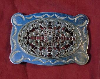 Large silver Nickel filagree buckle