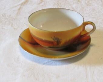 Vintage Japan windmill scene child tea set cup and saucer