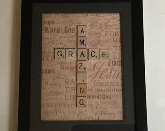 Framed Amazing Grace Cross in scrabble tiles