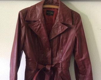 Vintage  Leather Jacket-Womens-Medium-Burnt Umber